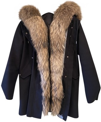 Moncler Fur Hood Black Wool Coats