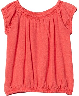 Chaser Recycled Vintage Jersey Shirred Short Sleeve Off Shoulder (Toddler/Little Kids) (Cherry Bomb) Girl's Clothing