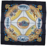 One Kings Lane Vintage Hermes Cavaliers Peuls Scarf with Case - The Emporium Ltd. - navy blue/red/green/brown/yellow/sky