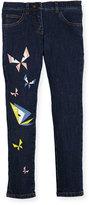 Fendi Girls' Butterfly Eyes Denim Pants, Size 3-5