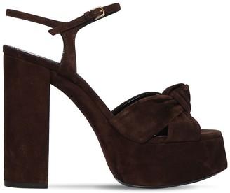 Saint Laurent 120mm Bianca Suede Platform Sandals
