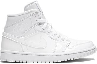 Jordan Air 1 Mid triple white patent leather