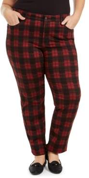 Charter Club Plus Size Plaid Tummy-Control Jeans, Created for Macy's