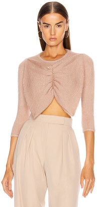 JoosTricot Swarovski Bow Crop Sweater in Dewy Pink   FWRD