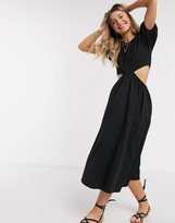 Asos Design DESIGN midi smock dress with cut out detail in black