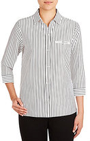 Allison Daley Petite Y-Neck3/4 Sleeve Button Front Printed Woven Shirt
