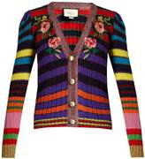 Gucci Floral-appliqué striped wool-blend cardigan