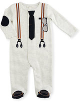 Miniclasix Striped Footed Cotton Jersey Coverall, Gray, Size Gray/White