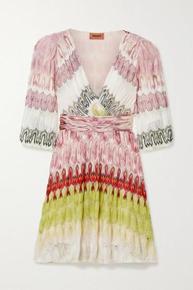 Missoni Wrap-effect Metallic Crochet-knit Mini Dress - Pink