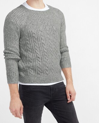 Express Cozy Blocked Cable Knit Crew Neck Sweater