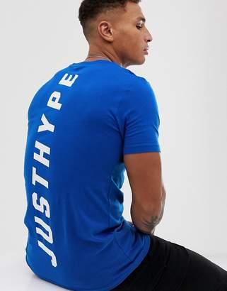Hype back print t-shirt-Blue