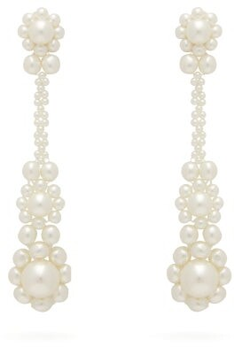 Simone Rocha Floral Faux-pearl Drop Earrings - Womens - Pearl