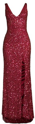 Mac Duggal V-neck Sequin Sheath Gown