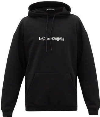 Balenciaga Symbolic Cotton-jersey Hooded Sweatshirt - Black White