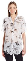 Anne Klein Women's Butterfly Print Short Sleeve Blouse