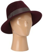 Hat Attack Velour Felt Merci Pinched Crown (Plum/Chocolate Grosgrain Ribbon) - Hats