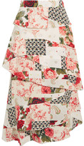 Vilshenko Radinka Tiered Printed Silk Crepe De Chine Midi Skirt - UK8