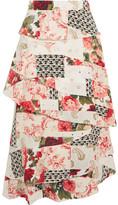 Vilshenko Radinka Tiered Printed Silk Crepe De Chine Midi Skirt - White