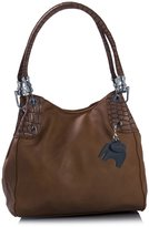 Big Handbag Shop Womens Multi Pockets Medium Shoulder Bag (278 Dark Tan ST)