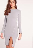 Missguided Long Sleeve Zip Detail Midi Dress Grey