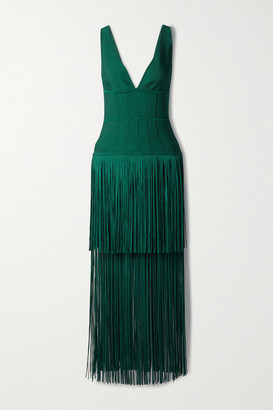Herve Leger Fringed Bandage Gown - Dark green