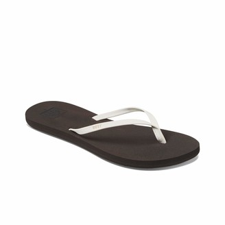 Reef Women's Sandals Bliss Nights | Vegan Leather Fashion Flip Flops for Women with Soft Cushion Footbed | Brown/White | Size 7