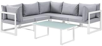 Modway Fortuna 6Pc Outdoor Patio Aluminum Sectional Sofa Set