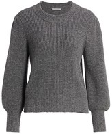 Frame Merino Wool & Cashmere Balloon-Sleeve Sweater
