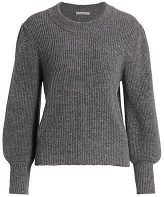 Frame Merino Wool & Cashmere Balloon-Sleeve Sweater