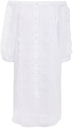 Charo Ruiz Ibiza Off-the-shoulder Guipure Lace-trimmed Cotton-blend Mousseline Mini Dress
