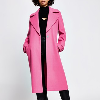 River Island Womens Pink cuff detail long sleeve coat