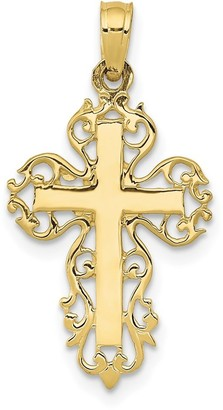 10K Yellow Gold Polished Block Cross with Lace Trim Edges Charm with 18-inch Chain by Versil