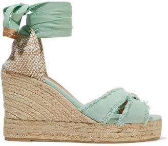 Castaner Bluma Frayed Cotton-canvas Wedge Espadrille Sandals