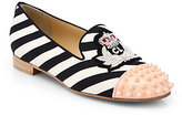 Intern Striped Canvas & Studded Patent Smoking Slippers