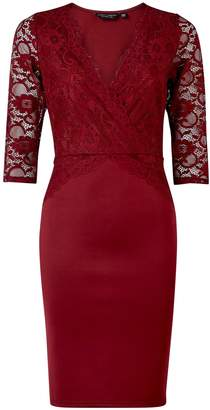Dorothy Perkins Womens **Oxblood Lace Top Bodycon Dress