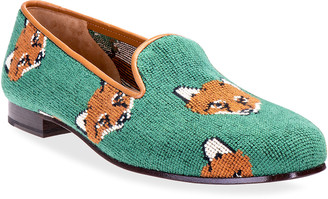 Stubbs and Wootton Cub Fox Embroidered Smoking Slipper Loafers