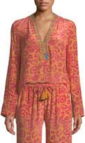 Le Sirenuse Annalisa V-Neck Long-Sleeve Paisley-Print Silk Crepe Tunic