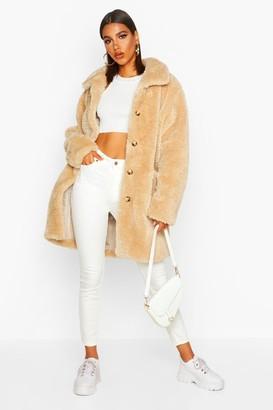 boohoo Button Through Teddy Faux Fur Coat