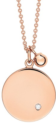 ginette_ny Mini Ever Diamond Disc Chain Necklace - Rose Gold