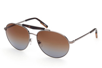 Ermenegildo Zegna Men's Gradient Double-Bridge Metal Aviator Sunglasses