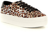GUESS Alexea High Leopard Print Velvet Lace-Up Platform Sneakers