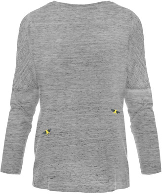 Ingmarson Bee Embroidered Dropped Shoulder T-Shirt Grey Women