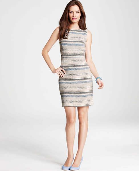 Ann Taylor Textured Stripe Tweed Sheath Dress