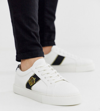 ASOS DESIGN Wide Fit trainers in white with crown badge embroidery
