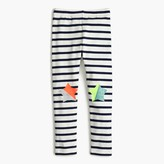 J.Crew Girls' everyday leggings in stripe with star patches