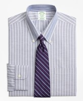 Brooks Brothers BrooksCool Milano Slim-Fit Dress Shirt, Non-Iron Ground Shadow Stripe