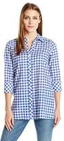 Foxcroft Women's Plus Size 3/4 Sleeve Rosita Gingham Tunic