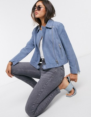 Y.A.S Blua 7/8 suede biker jacket in blue