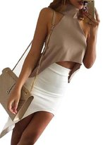 Orangesky Women Halter Top Cropped Turtleneck Blouses Vest Off Shoulder Sexy Tops (S, )