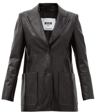 MSGM Peak-lapel Faux-leather Blazer - Black